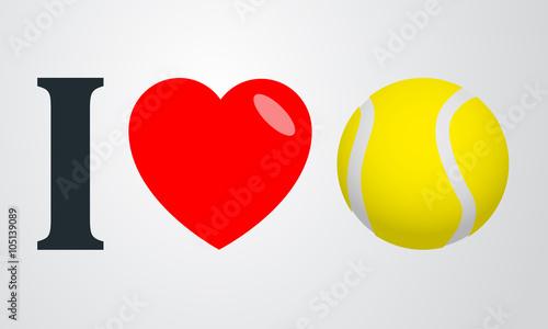 Fototapeta Icono plano i love tenis color en fondo degradado