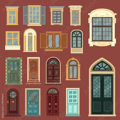 Naklejka Architectural Set of European Vintage Doors and Windows