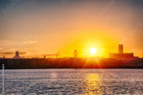 Poster Golden Glow - Sunrise over the Mersey Liverpool England UK