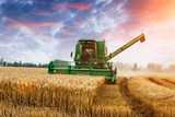 Fototapety Combine harvester harvest ripe wheat on a farm