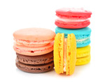 colorful macarons on white background - 105153440