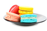 colorful macarons on white background - 105153455