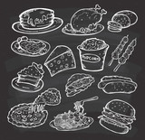 Fototapety Set of hand drawn food and snack on chalkboard background