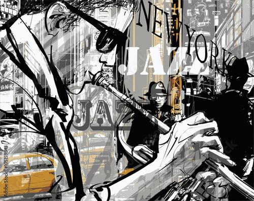 Fototapeta Jazz trumpet player in a street of New york