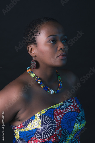 obraz PCV Traditional south african xhosa woman wearing colorful fabric.