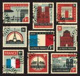 set of stamps on the theme of France and with the image of the architectural sights of Paris
