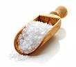 Granulated sea salt on white background