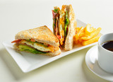 fresh and delicious classic club sandwich and cup of coffee and - 105176840