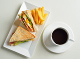 fresh and delicious classic club sandwich and cup of coffee and - 105176889