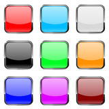 Square buttons. Shiny colored buttons with metal chrome frame. - 105181683