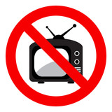No television sign, isolated on white background, vector illustration.