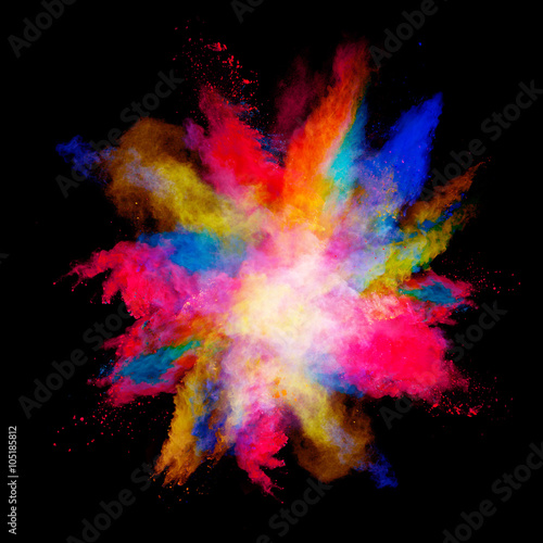 Explosion of colored powder on black background - 105185812