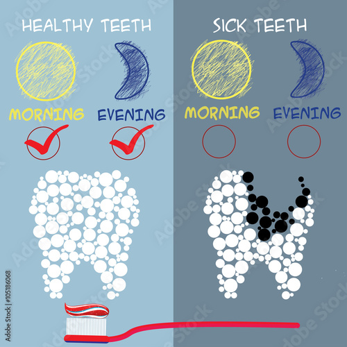 Fototapeta Dental care concept. Healthy and sick teeth.