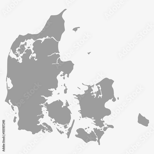 Plakát Map of Denmark in gray on a white background