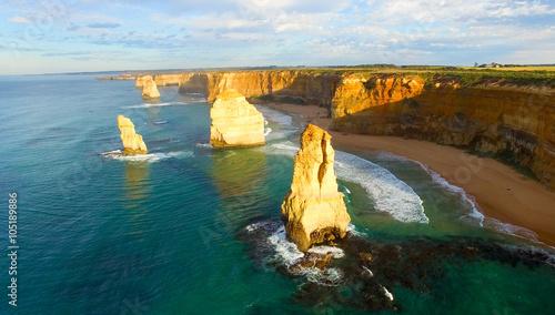 Fotobehang Zwavel geel Aerial view of Twelve Apostles - Port Campbell, Australia