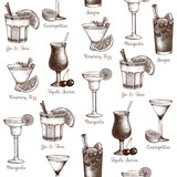 Vector seamless pattern with vintage alcoholic cocktails sketch. Ink hand drawn drinks and ingredients background for bar or restaurant menu
