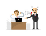 Vector of  a businessman or employee get yelled by his boss