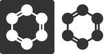 Benzene (C6H6) aromatic hydrocarbon molecule, flat icon style.  - 105268817