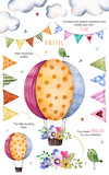 Fototapety Happy Birthday collection!Pattern with individual elements for your own design:flowers,bunting flags,air ballon,bouquets,garlands,ribbons,Perfect for birthday cards,mother's day,baby cards,invitation