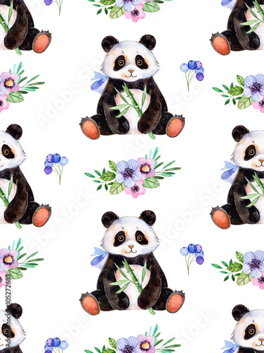 Seamless texture with handpainted watercolor elements for your design with multicolored flowers,berries,leaves and cute Panda .For your unique creation.Parfect for birthday card,invitation,wallpaper - 105272683
