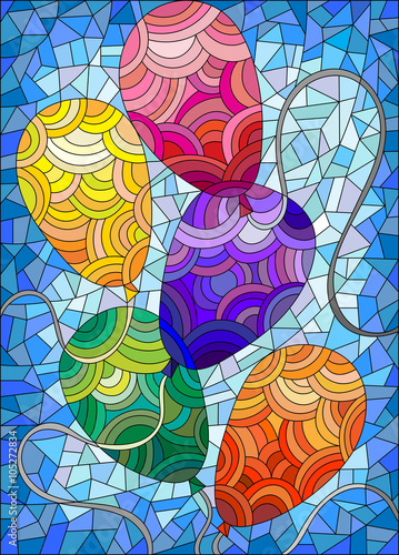 Naklejka Stained glass illustration with colorful bright balloons against the sky