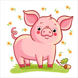 Fototapety Farm animal. Vector illustration of pig and acorn on a white background with flowers.