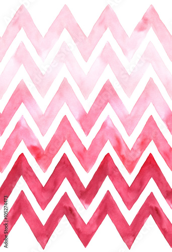 Chevron with gradation of pink color on white background. Watercolor seamless pattern - 105274473