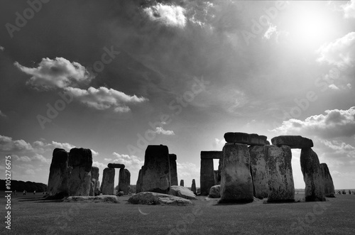 Poster Stonehenge black and white with sky