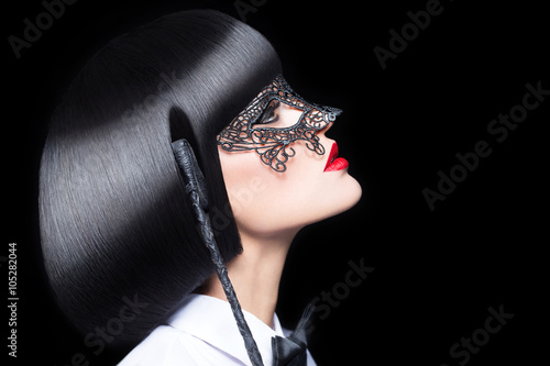 Sexy woman with red lips mask and whip bdsm Tableau sur Toile