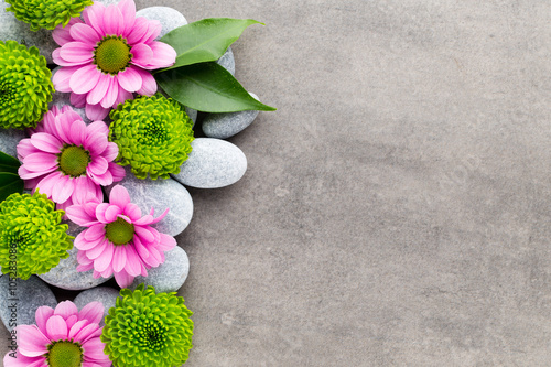 Juliste Spa stones and flowers on grey background.