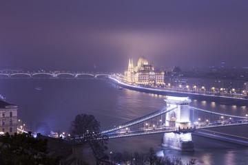 Budapest At Night, Hungary, View On The Chain Bridge