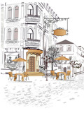 Fototapety Series of backgrounds decorated with old town views and street cafes.