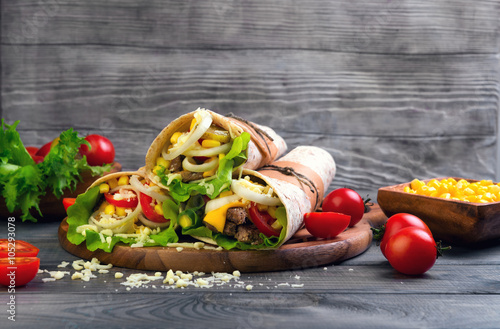 Sandwiches twisted roll Tortilla Poster