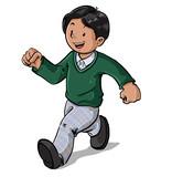 Niño con uniforme escolar en colegio caminado feliz