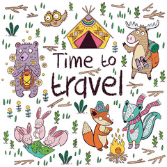Time to travel. Children card in cartoon style. Vector illustration