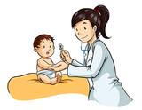 Ilustracion de joven doctora revisando a bebe niño pequeño