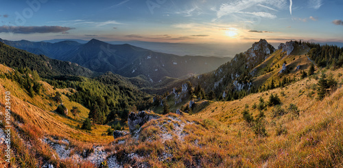 Panoramic view in Slovakia rural mountain scene