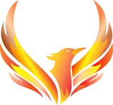 flaming phoenix flying illustration