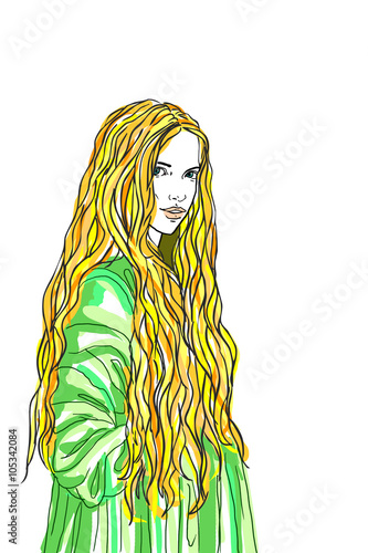"""Blond long hair woman lady in old fashion dress"""" Stock photo and"""