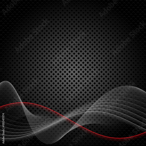 Dark background with waves. Perforated sheet, decorated with sine wave lines and one glowing red line.