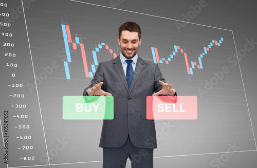Poster businessman or stock broker over forex chart