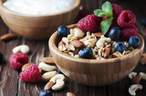 Homemade muesli with berry and nuts