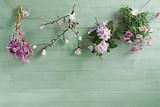 sfondo primavera con fiori appesi e legno verde pastello