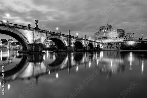 Night view of S. Angelo Bridge, Rome Poster