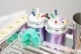 dental clinic equipment on metal plate