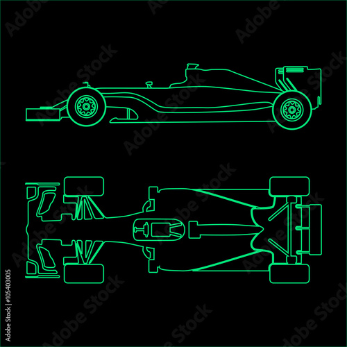 Deurstickers F1 Formula car, linear light silhouette of a racing car isolated on black background. Top view and side view. Vector illustration