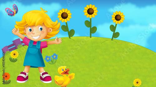 fototapeta na ścianę Nature scene with a kid - illustration for children