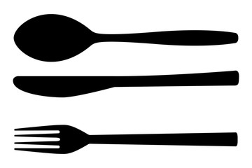 Cutlery set. Fork, spoon, knife. Kitchenware icon