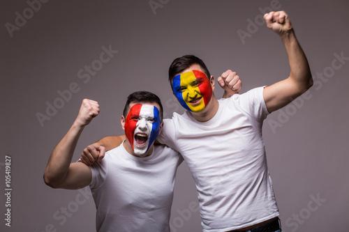 Poster France vs Romania on white background