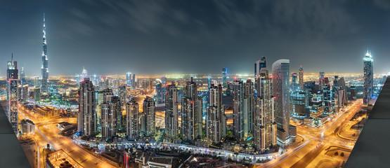 Dubai Downtown Night Panorama